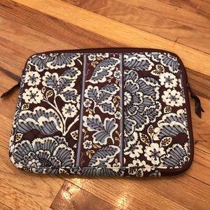 Vera Bradley padded laptop case light blue brown